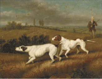 A huntsman with two gundogs; a