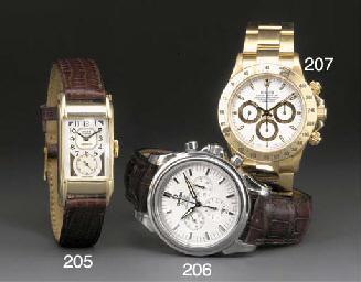 Rolex: A gold rectangular wris