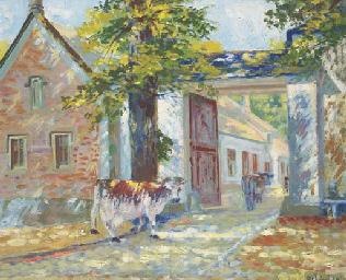 Vaches dans le village