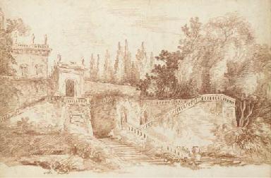 Vue des jardins de la Villa Ma
