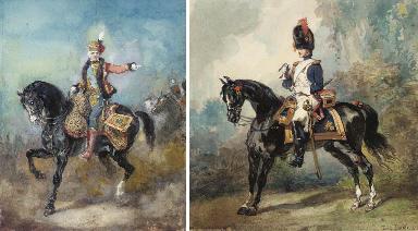Un officier hussard à cheval,