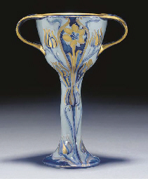 A BLUE AND GOLD CHALICE