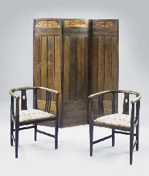 A PAIR OF STAINED OAK ARMCHAIR