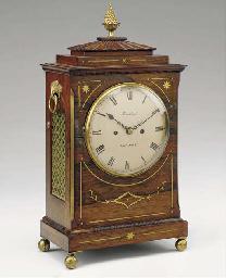 A Regency rosewood, brass-inla