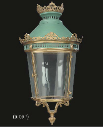 A pair of French brass lantern