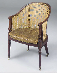 A GEORGE III MAHOGANY AND CANE