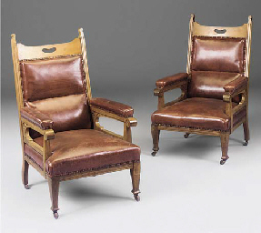 A PAIR OF OAK AND RED LEATHER