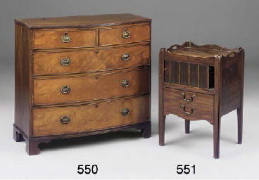 A MAHOGANY BOWFRONT CHEST