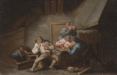 An interior with boors eating