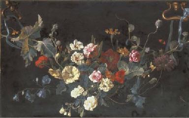 A garland of roses, campanulas