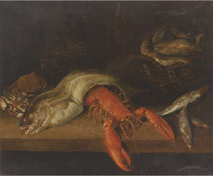 A lobster, a basket of fish, a