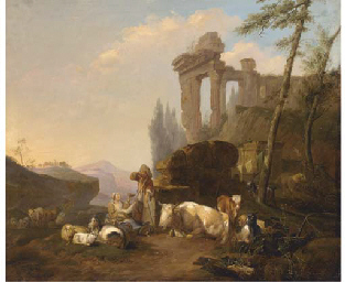 A classical landscape with a h