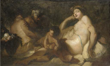 Venus and Bacchus with cupid a