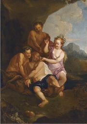 The drunken Silenus with satyr