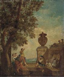 Figures conversing on a terrac