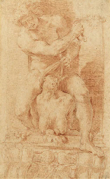 A young man subduing a harpy,