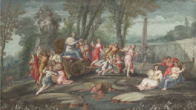 Venus and Cupid in a chariot a