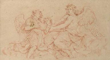 Three music-making angels seat