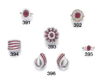 A diamond and calibre ruby ban