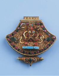 a nepalese gold reliquary box