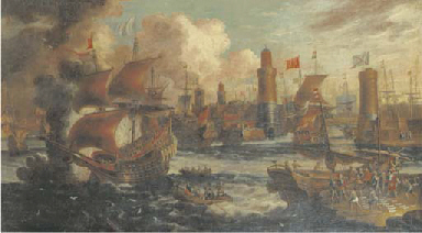 A busy Mediterranean harbour c