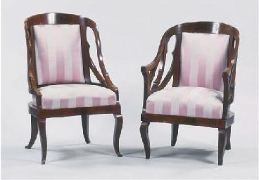(2) Two German mahogany and eb