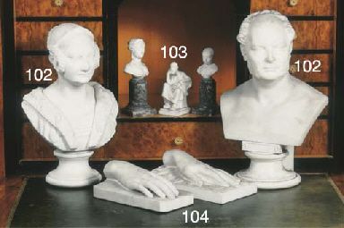 (2) A carved marble bust of Fr