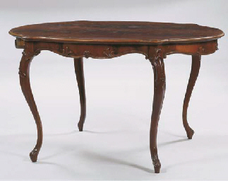 (2) A German mahogany centre t