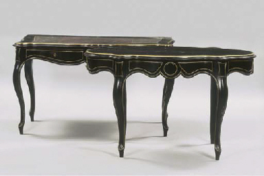 (2) A German ebonised and bras