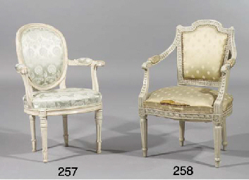 A German grey painted fauteuil
