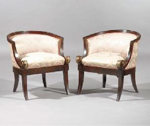 (2) A pair of mahogany and gil