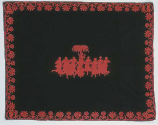 A black and red felt and embro