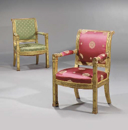 (2) A pair of Empire giltwood