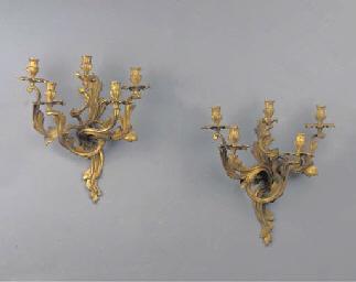 (2) A pair of ormolu five-ligh