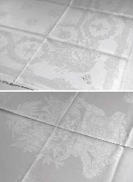 A damask linen tablecloth