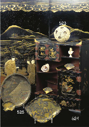 A Japanese gilt and black lacq