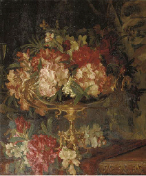 Rhodondendrons in a brass vase