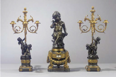 (3) A French gilt and patinate