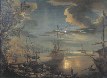 A moon-lit Mediterranean harbo