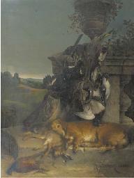 Jagd Stilleben: a retriever re