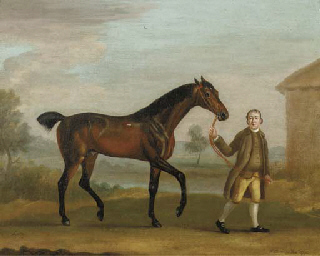 A bay hunter and a groom in a