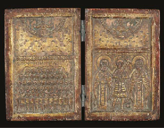 a carved wood diptych
