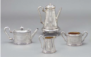 A VICTORIAN SILVER TEA AND COF