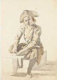 Un pêcheur assis portant un tr