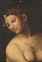 Tête de femme nue au collier