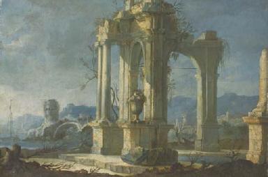 Un temple en ruines près d'un