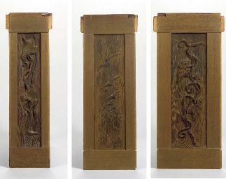 THREE CARVED REDWOOD AND OAK W