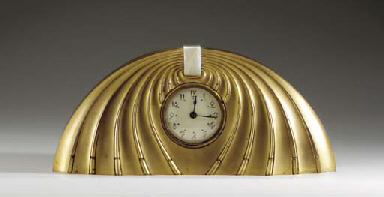 A GILT-BRONZE AND ONYX CLOCK