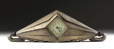 A SILVERED BRONZE CLOCK
