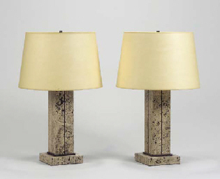 A PAIR OF TRAVERTINE AND RED M
